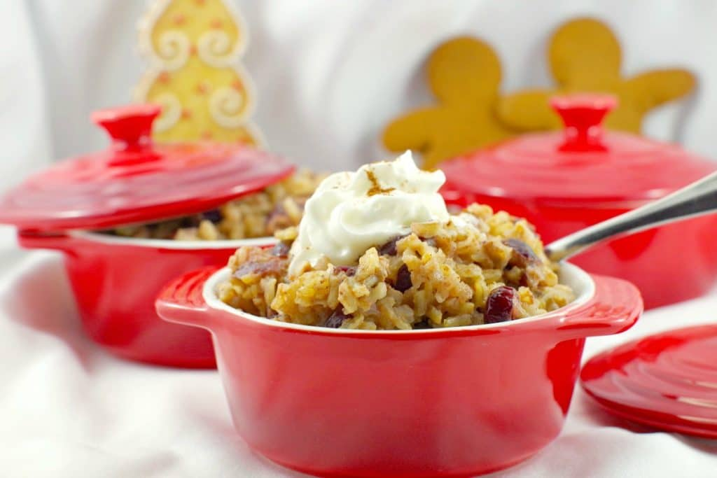 Cranberry Gingerbread Stovetop Rice Pudding (Gluten-Free)
